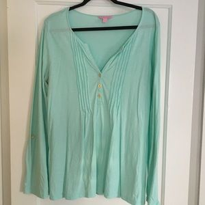 Lilly Pulitzer Teal Cotton Long Sleeve Tunic